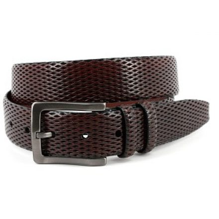 ITALIAN LAZERED DIAMOND CALF BELT - MAHOGANY )