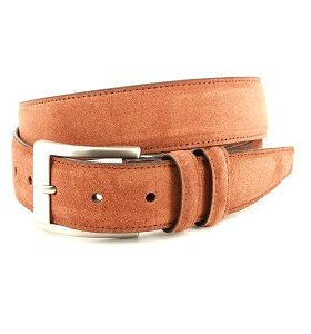 ITALIAN SUEDED CALFSKIN BELT - WALNUT)